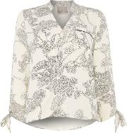 Long Sleeve Floral Wrap Top, Cream
