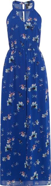 Short Sleeves Floral Maxi Dress, Blue