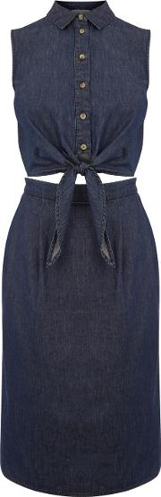 Cut Out Tie Front Midi Dress, Denim