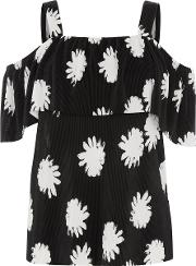 Flower Stamp Overlay Top, Black