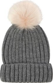 Foux Fur Pom Hat, Grey
