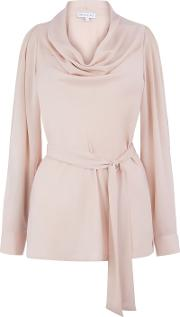 Satin Cowl Neck Top, Pink