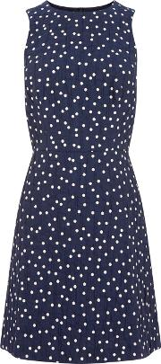 Warehouse Crinkle Spot Dress, Blue Multi