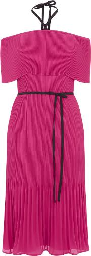 Warehouse Off Shoulder Tie Neck Dress, Hot Pink