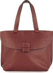 Warehouse Stitch Tab City Shopper Bag, Berry