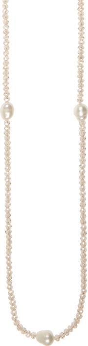 Long Freshwater Pearl And Crystal Necklace, Cream