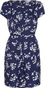 Floral Bird Ruched Dress, Blue