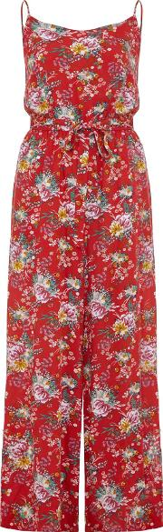 Flower Print Jumpsuit, Red