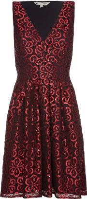Red Lace Party Dress With Sequins, Red