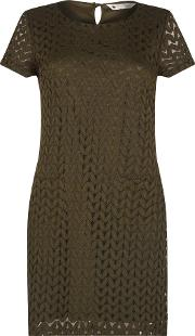 Soft Lace Chevron Tunic, Brown