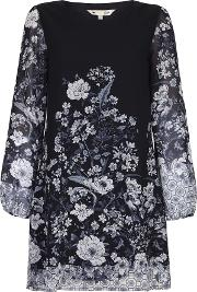 Yumi Floral Border Print Shift Dress, Black