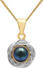 9ct Gold Diamond And Freshwater Pearl Flower Pendant Necklace