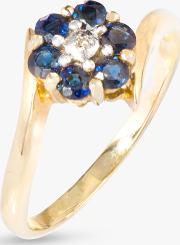 9ct Gold Sapphire And Diamond Flower Cocktail Ring