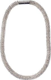 Faceted Glass Beads Rope Necklace, Silver