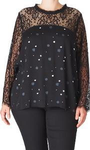 Lace Printed Long Sleeve Blouse