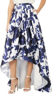 Abstract Floral Print Faille Side Pleat Skirt