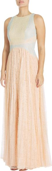Block Lace Evening Gown, Apricot Creammulti