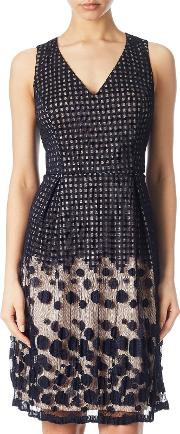 Pleated Plaid Dot Fit And Flare Dress, Navypink
