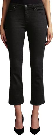 The Jodie Crop Bootcut Jeans, Over Dye Black