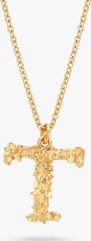 22ct Gold Plated Sterling Silver Floral Letter Pendant Necklace