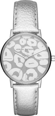Ax5539 Women's Patterned Leather Strap Watch