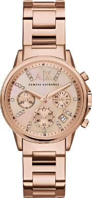 Women's Crystal Chronograph Date Bracelet Strap Watch