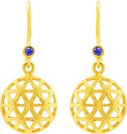 18ct Gold Plated Small Triangle Sapphire Drop Earrings