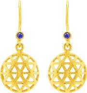 Auren 18ct Gold Plated Small Triangle Sapphire Drop Earrings