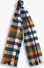 Colour Block Check Lambswool Scarf