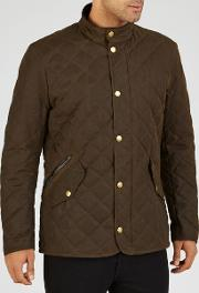 Waxed Quilted Funnel Neck Jacket