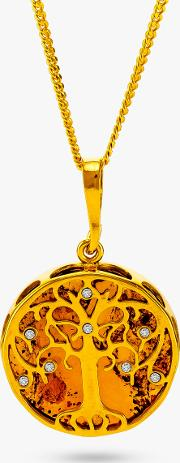 Be Jewelled Amber And Cubic Zirconia Tree Pendant Necklace