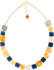 Be Jewelled Amber And Lapis Gold Plated Collar Necklace
