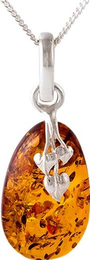 Be Jewelled Amber Leaf Motif Pendant Necklace, Cognac