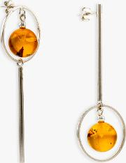 Be Jewelled Amber Oval Bar Drop Earrings