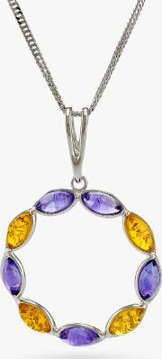 Be Jewelled Baltic Amber And Amethyst Pendant Necklace