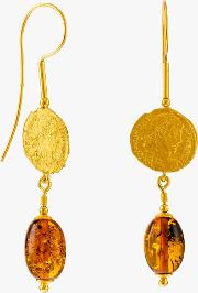 Be Jewelled Baltic Amber Antique Coins Drop Earrings