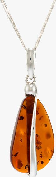Be Jewelled Baltic Amber Ribbon Pendant Necklace