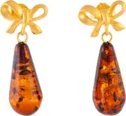 Be Jewelled Cognac Gold Plated Sterling Silver Amber Bow Drop Earrings, Amber