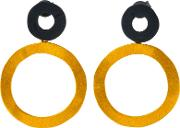 Be Jewelled Gold Plated Oxydised Sterling Silver Circle Drop Earrings, Goldblack