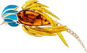 Be Jewelled Gold Vermeil Amber Parrot Brooch