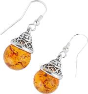 Be Jewelled Sterling Silver Amber Ball Drop Earrings