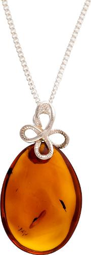 Be Jewelled Sterling Silver Amber Bow Bail Pendant Necklace, Silverorange