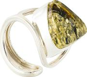 Be Jewelled Sterling Silver Baltic Ring, Green Amber