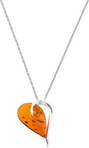 Be Jewelled Sterling Silver Cognac Amber Heart Pendant Necklace