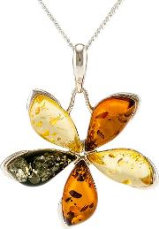 Be Jewelled Sterling Silver Marquise Amber Flower Pendant Necklace