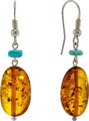 Be Jewelled Sterling Silver Oval Amber Hook Drop Earrings