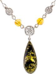 Be Jewelled Sterling Silver Pear Shape Amber Pendant Necklace, Silvergreen