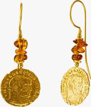 Be Jewelled Tumbled Baltic Amber Antique Coins Drop Earrings