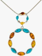 Be Jewelled Turquoise And Amber Circle Pendant Necklace