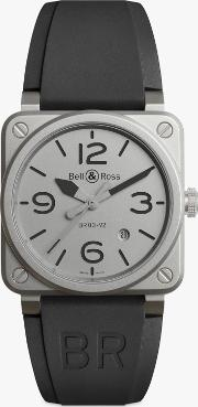 Br0392 Gbl Stsrb Men's Horoblack Automatic Date Rubber Strap Watch